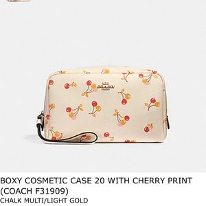 Coach Boxy Cosmetic Case with Cherry Print